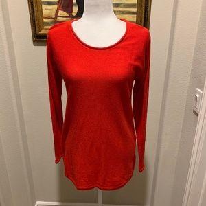 Max Studio Red Marino Wool Crew Neck Sweater